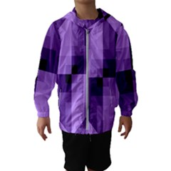 Purple Geometric Cotton Fabric Hooded Wind Breaker (kids)