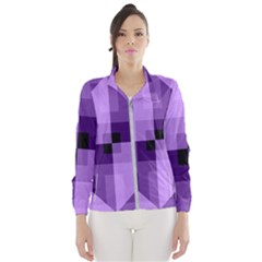 Purple Geometric Cotton Fabric Wind Breaker (women)