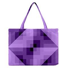 Purple Geometric Cotton Fabric Zipper Medium Tote Bag