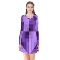 Purple Geometric Cotton Fabric Flare Dress