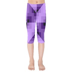 Purple Geometric Cotton Fabric Kids  Capri Leggings