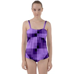 Purple Geometric Cotton Fabric Twist Front Tankini Set by Nexatart