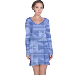 Texture Wood Slats Geometric Aztec Long Sleeve Nightdress