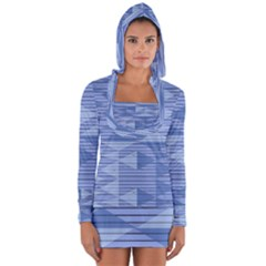 Texture Wood Slats Geometric Aztec Long Sleeve Hooded T Shirt