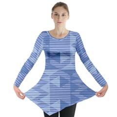 Texture Wood Slats Geometric Aztec Long Sleeve Tunic