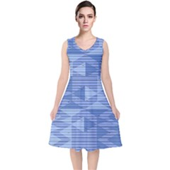 Texture Wood Slats Geometric Aztec V Neck Midi Sleeveless Dress