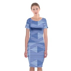 Texture Wood Slats Geometric Aztec Classic Short Sleeve Midi Dress