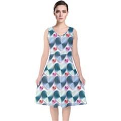 Valentine Valentine S Day Hearts V Neck Midi Sleeveless Dress