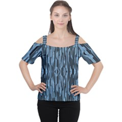 Texture Surface Background Metallic Cutout Shoulder Tee