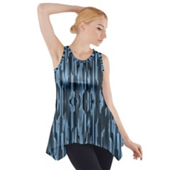 Texture Surface Background Metallic Side Drop Tank Tunic