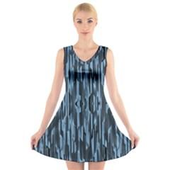 Texture Surface Background Metallic V Neck Sleeveless Skater Dress