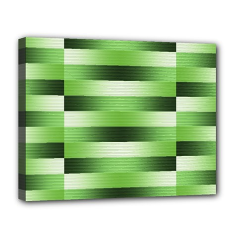 Pinstripes Green Shapes Shades Canvas 14  X 11  by Nexatart