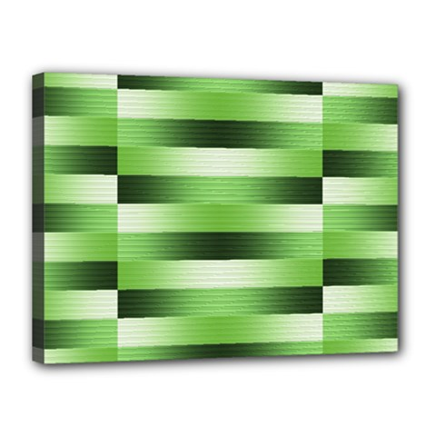 Pinstripes Green Shapes Shades Canvas 16  X 12