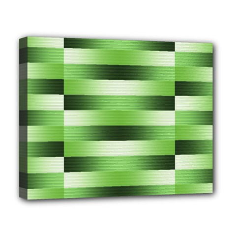 Pinstripes Green Shapes Shades Deluxe Canvas 20  X 16   by Nexatart