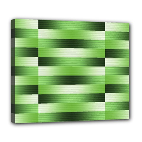 Pinstripes Green Shapes Shades Deluxe Canvas 24  X 20