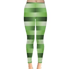 Pinstripes Green Shapes Shades Leggings  by Nexatart