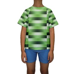 Pinstripes Green Shapes Shades Kids  Short Sleeve Swimwear