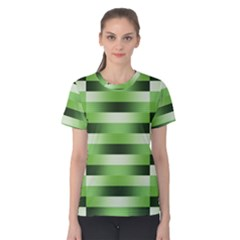 Pinstripes Green Shapes Shades Women s Cotton Tee