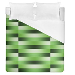 Pinstripes Green Shapes Shades Duvet Cover (queen Size)