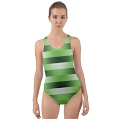 Pinstripes Green Shapes Shades Cut Out Back One Piece Swimsuit by Nexatart