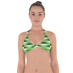 Pinstripes Green Shapes Shades Halter Neck Bikini Top