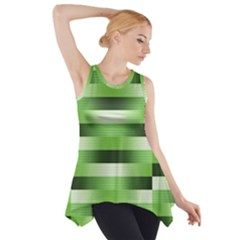 Pinstripes Green Shapes Shades Side Drop Tank Tunic