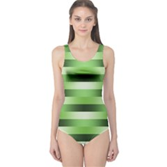 Pinstripes Green Shapes Shades One Piece Swimsuit