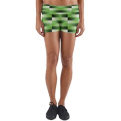 Pinstripes Green Shapes Shades Yoga Shorts by Nexatart