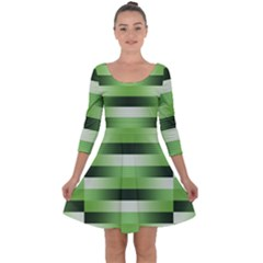 Pinstripes Green Shapes Shades Quarter Sleeve Skater Dress