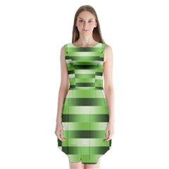 Pinstripes Green Shapes Shades Sleeveless Chiffon Dress
