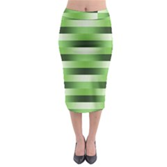 Pinstripes Green Shapes Shades Midi Pencil Skirt