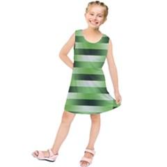 Pinstripes Green Shapes Shades Kids  Tunic Dress