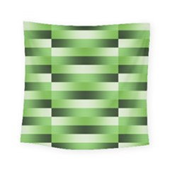 Pinstripes Green Shapes Shades Square Tapestry (small)