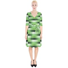 Pinstripes Green Shapes Shades Wrap Up Cocktail Dress