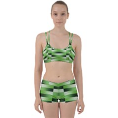 Pinstripes Green Shapes Shades Women s Sports Set