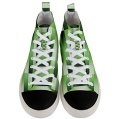Pinstripes Green Shapes Shades Men s Mid Top Canvas Sneakers