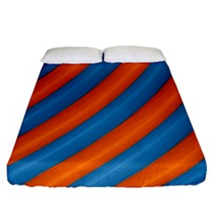 Diagonal Stripes Striped Lines Fitted Sheet (queen Size)