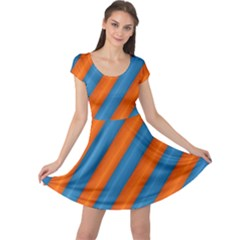 Diagonal Stripes Striped Lines Cap Sleeve Dress