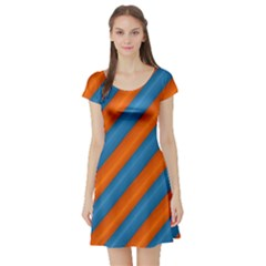 Diagonal Stripes Striped Lines Short Sleeve Skater Dress