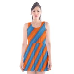 Diagonal Stripes Striped Lines Scoop Neck Skater Dress