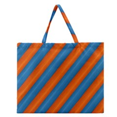 Diagonal Stripes Striped Lines Zipper Large Tote Bag