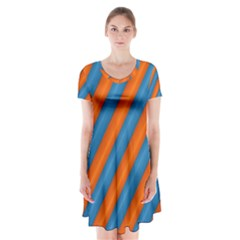 Diagonal Stripes Striped Lines Short Sleeve V Neck Flare Dress