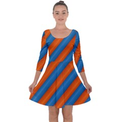 Diagonal Stripes Striped Lines Quarter Sleeve Skater Dress