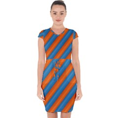 Diagonal Stripes Striped Lines Capsleeve Drawstring Dress
