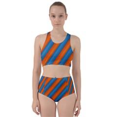 Diagonal Stripes Striped Lines Racer Back Bikini Set