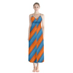 Diagonal Stripes Striped Lines Button Up Chiffon Maxi Dress