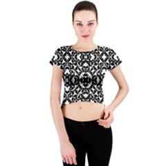 Black And White Geometric Pattern Crew Neck Crop Top by dflcprints