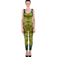 Fantasy Plumeria Decorative Real And Mandala One Piece Catsuit by pepitasart