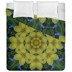 Fantasy Plumeria Decorative Real And Mandala Duvet Cover Double Side (california King Size) by pepitasart