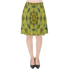 Fantasy Plumeria Decorative Real And Mandala Velvet High Waist Skirt by pepitasart